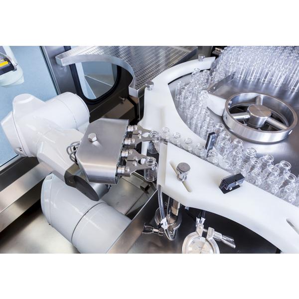 Líneas completas de lavado, despirogenación y llenado de viales a granel: Máquinas robotizadas de llenado aséptico Steriline 463-RVFCM50 distribuidas por Netsteril