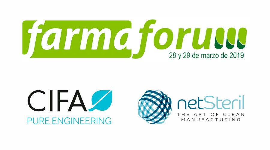 Logos de Farmaforum, Netsteril y Cifa