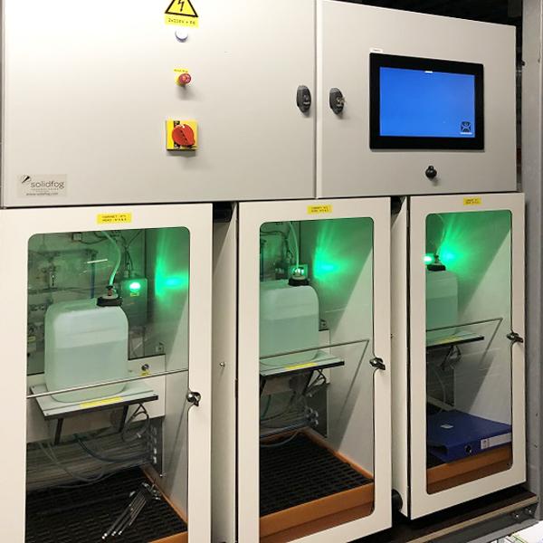 Sistemas integrados de generación VH2O2 para salas o instalaciones Solidfog