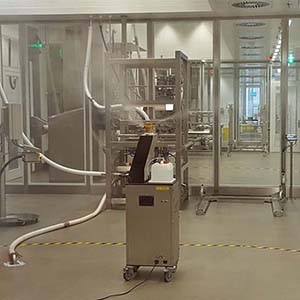 Equipo portátil de generación VH2O2 para salas o recintos grandes Soldifog distribuido por Netsteril