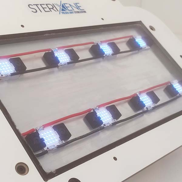 Close-up of a two-line panel of Sterixene UV-LED lamps for UV disinfection
